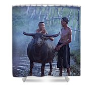 Dad And Child Happy To Live In The Countryside,thailand, Vietnam Shower Curtain