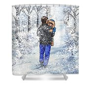 Dad And Child In The Winter Snow Shower Curtain