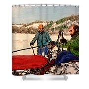 Dad And Denny In A Winter Field Shower Curtain