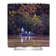 Dad And Sons Fishing Shower Curtain