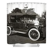 Daddy's Motorized Baby Buggy Shower Curtain