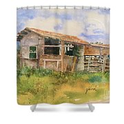 Dad's Saddle Shed Shower Curtain