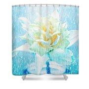 Daffodil Flower In Rain. Digital Art Shower Curtain