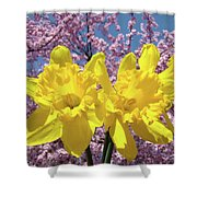 Daffodil Flowers Spring Pink Tree Blossoms Art Prints Baslee Troutman Shower Curtain