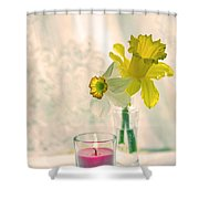Daffodils And The Candle V3 Shower Curtain
