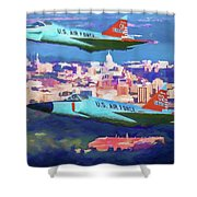 Daggers Over Madison In Oil Shower Curtain