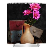 Dahlias And Drawers Shower Curtain