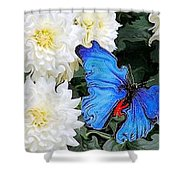 Dahlias And The Butterfly Shower Curtain