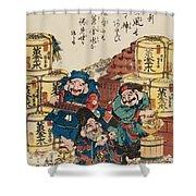 Daikoku Ebisu And Fukurokuju Counting Money Shower Curtain