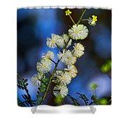 Dainty Wildflowers On Blue Bokeh By Kaye Menner Shower Curtain
