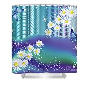 Daisies And Butterflies On Blue Background Shower Curtain