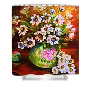 Daisies And Ginger Jar Shower Curtain