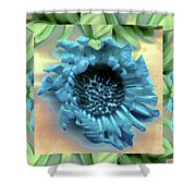Daisy Blue Frame Shower Curtain