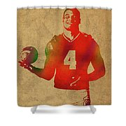 Dak Prescott Nfl Dallas Cowboys Quarterback Watercolor Portrait Shower Curtain