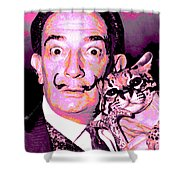 Dali With Ocelot And Cane Shower Curtain