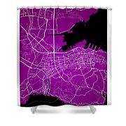 Dalian Street Map - Dalian China Road Map Art On A Purple Backgro Shower Curtain
