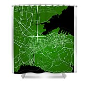 Dalian Street Map - Dalian China Road Map Art On Green Backgro Shower Curtain