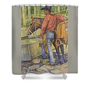 dallas and Rosco at the Holding Pasture Tank Shower Curtain