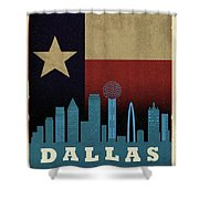 Dallas City Skyline State Flag Of Texas Art Poster Series 020 Shower Curtain
