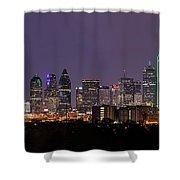Dallas Skyline At Night Pano Shower Curtain