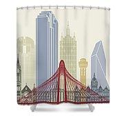 Dallas Skyline Poster Shower Curtain