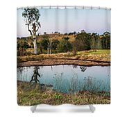 Dam At Sunset Landscape Shower Curtain