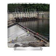 Dam Repairs  Along The Androscoggin River Shower Curtain