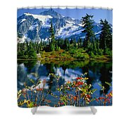 Damian Trevor - Awesome Mountain Tree Nature Landscape Shower Curtain