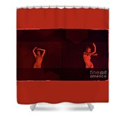Dance In Nothing But Red By Mb Shower Curtain