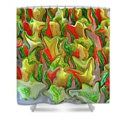 Dance Of The Appetizers Shower Curtain