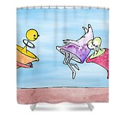 Dance Party Monsters Watercolor Shower Curtain