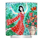Dancer In Red Sari Shower Curtain