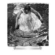 Dancer In White Dress In Shallow Water Shower Curtain