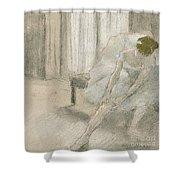 Dancer Seated, Readjusting Her Stocking Shower Curtain