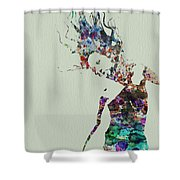 Dancer Watercolor Splash Shower Curtain