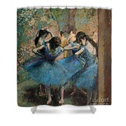 Dancers In Blue Shower Curtain by Edgar Degas