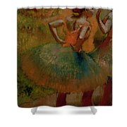 Dancers Wearing Green Skirts Shower Curtain by Edgar Degas