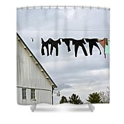 Dancing Amish Laundry Shower Curtain