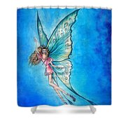 Dancing Fairy In Blue Sky Shower Curtain