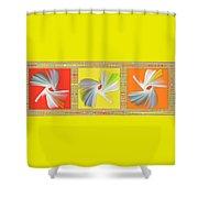 Dancing Flower Trio Shower Curtain