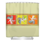 Dancing Flower Trio Shower Curtain