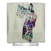 Dancing In Kimono Shower Curtain by Naxart Studio