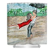 Dancing In The Rain On The Beach Shower Curtain