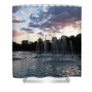 Dancing Jets And Music Sunset - Plovdiv Singing Fountains Shower Curtain