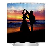 Dancing On The Beach - Painting Shower Curtain