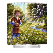 Dandelion - Make A Wish Shower Curtain by Anne Wertheim