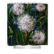 Dandelions Acrylic Painting Shower Curtain