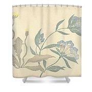 Dandelions And Blue Flowers, Nakamura Hochu, 1826 Shower Curtain