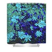 Dandy Digital Daisies In Blue Shower Curtain