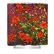 Dandy Digital Daisies In Red Shower Curtain
